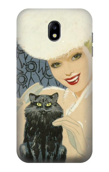 Printed Beautiful Lady With Black Cat Samsung Galaxy Core I8260 Case
