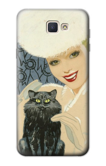 Printed Beautiful Lady With Black Cat Samsung Galaxy J7 Prime Case