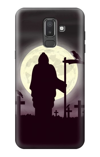 Printed Night Moon Cemetery Samsung Galaxy J8 Case