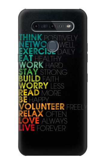 Printed Think Positive Words Quotes LG K51S Case