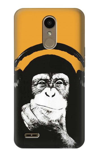 Printed Funny Monkey with Headphone Pop Music LG K10 (2018) Case