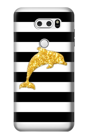 Printed Black and White Striped Dolphin Gold Glitter LG V30S ThinQ Case