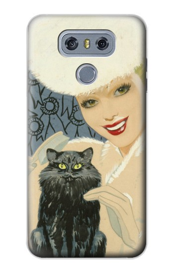 Printed Beautiful Lady With Black Cat alcatel Hero 2 Case
