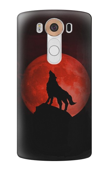 Printed Wolf Howling Red Moon LG V10 Case