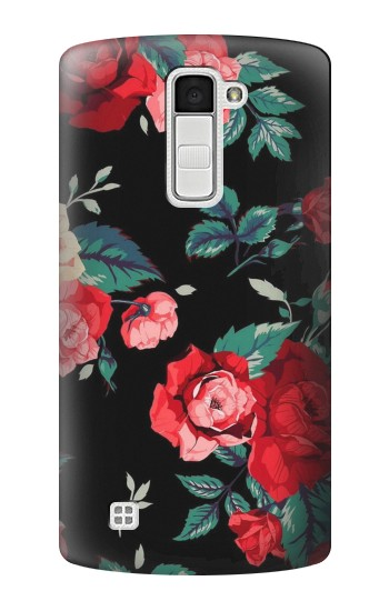 Printed Rose Floral Pattern Black LG K10 Case