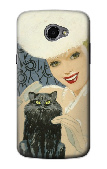 Printed Beautiful Lady With Black Cat LG G Pro 2 Case