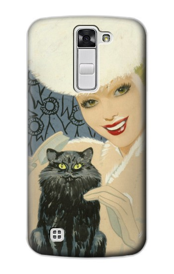 Printed Beautiful Lady With Black Cat LG G Stylo Case