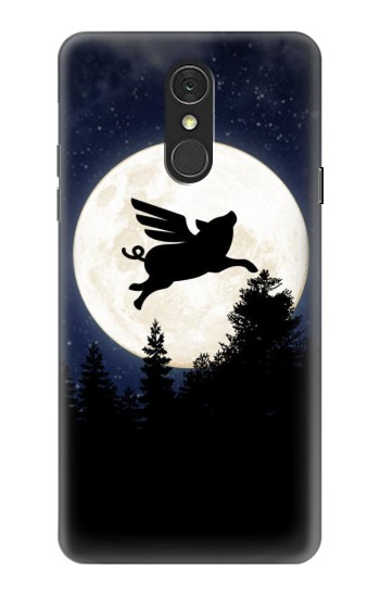 Printed Flying Pig Full Moon Night LG Q7 Case