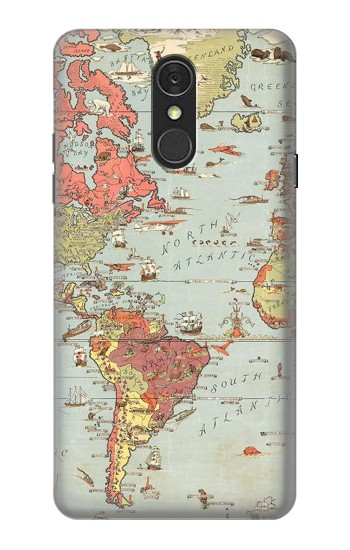 Printed Vintage World Map LG Q7 Case