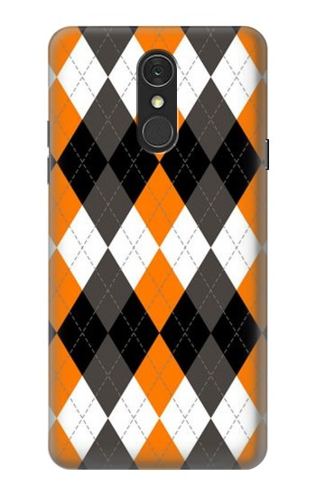 Printed Black Orange White Argyle Plaid LG Q7 Case