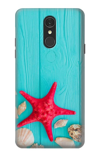Printed Aqua Wood Starfish Shell LG Q7 Case