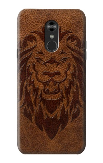 Printed Leo Tattoo Brown Leather LG Q Stylo 4, LG Q Stylus Case