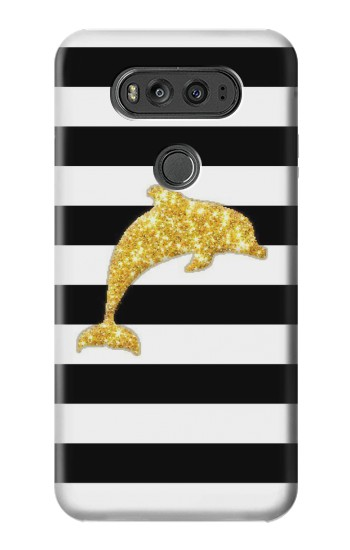 Printed Black and White Striped Dolphin Gold Glitter LG G Flex 2 Case