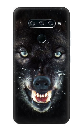 Printed Black Wolf Blue Eyes Face LG V40 ThinQ Case