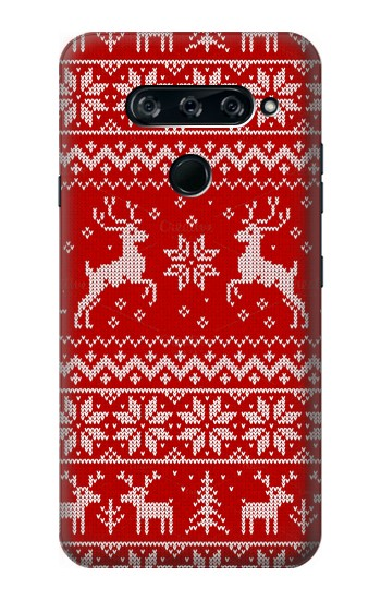 Printed Christmas Reindeer Knitted Pattern LG V40 ThinQ Case