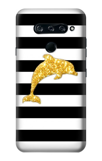 Printed Black and White Striped Dolphin Gold Glitter LG V40 ThinQ Case