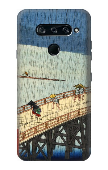 Printed Utagawa Hiroshige Sudden shower over Shin Oashi bridge and Atake LG V40 ThinQ Case