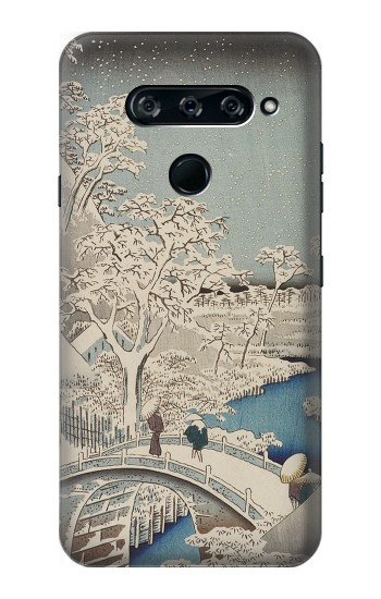 Printed Utagawa Hiroshige The Drum Bridge at Yuhi Hill in Meguro LG V40 ThinQ Case