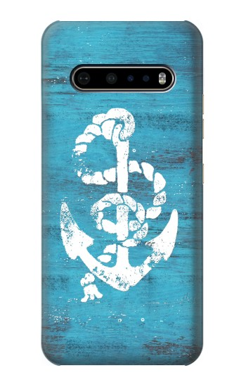 Printed Marine Anchor Blue Wooden LG V60 ThinQ 5G Case
