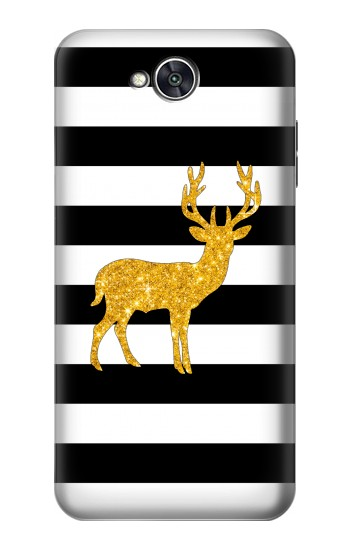 Printed Black and White Striped Deer Gold Sparkles LG X power2 Case