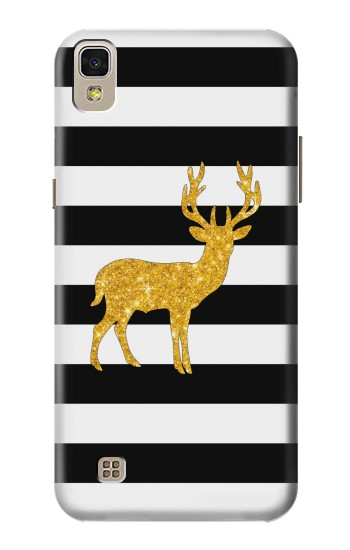 Printed Black and White Striped Deer Gold Sparkles LG F70 D315 Case