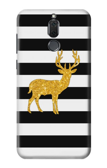 Printed Black and White Striped Deer Gold Sparkles Huawei Mate 10 Lite Case
