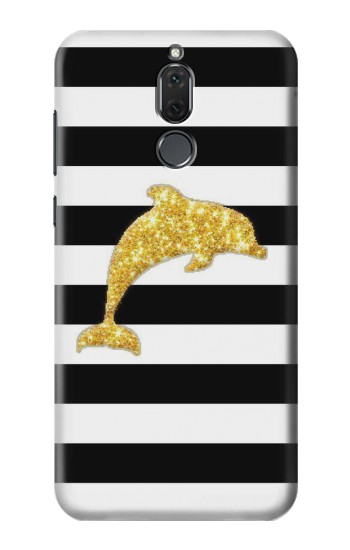 Printed Black and White Striped Dolphin Gold Glitter Huawei Mate 10 Lite Case