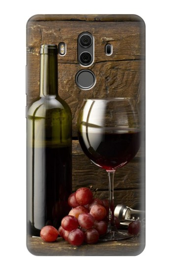 Printed Grapes Bottle and Glass of Red Wine Huawei Mate 10 Pro, Porsche Design Case
