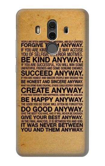 Printed Mother Teresa Anyway Quotes Huawei Mate 10 Pro, Porsche Design Case