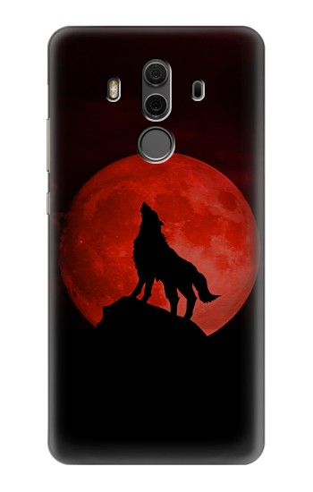 Printed Wolf Howling Red Moon Huawei Mate 10 Pro, Porsche Design Case