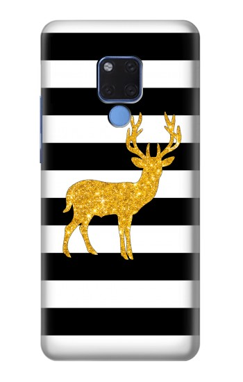 Printed Black and White Striped Deer Gold Sparkles Huawei Mate 20 X Case