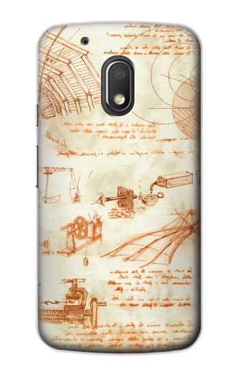 Printed Technical Drawing Da Vinci Motorola Droid Turbo 2 / X Force Case