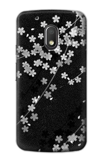 Printed Japanese Style Black Flower Pattern Motorola Droid Turbo 2 / X Force Case