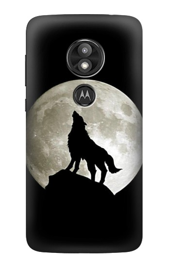 Printed Wolf Howling at The Moon Motorola Moto E5 Play Case