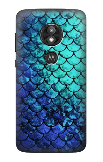 Printed Green Mermaid Fish Scale Motorola Moto E5 Play Case