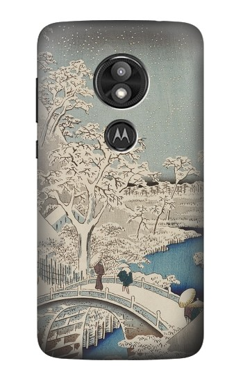 Printed Utagawa Hiroshige The Drum Bridge at Yuhi Hill in Meguro Motorola Moto E5 Play Case