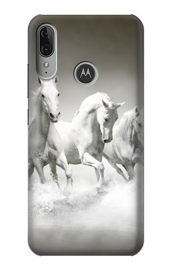 Printed White Horses Motorola Moto E6 Plus Case