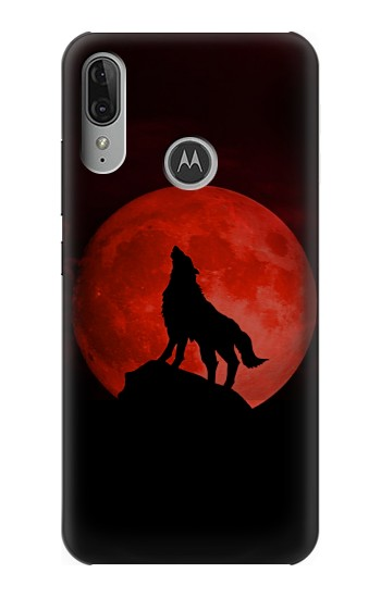 Printed Wolf Howling Red Moon Motorola Moto E6 Plus Case