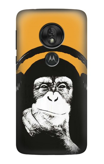 Printed Funny Monkey with Headphone Pop Music Motorola Moto G7 Play Case