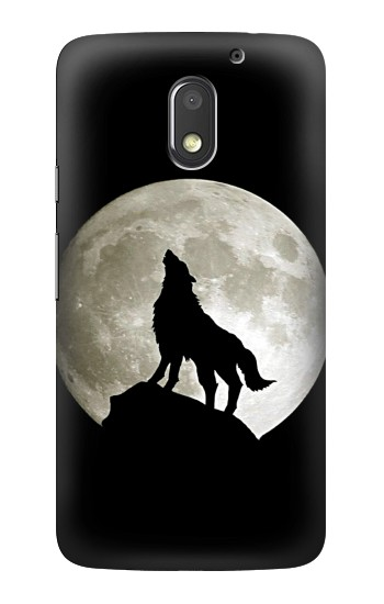 Printed Wolf Howling at The Moon Motorola Moto E3 Case