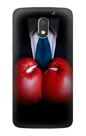 Printed Businessman In Black Suit With Boxing Gloves Motorola Moto E3 Case