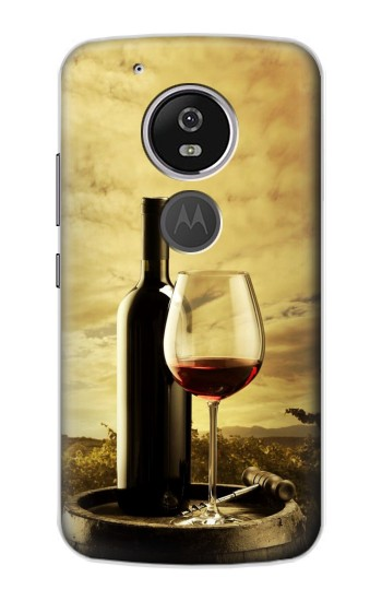 Printed A Grape Vineyard Grapes Bottle and Glass of Red Wine Motorola Moto E5 Case