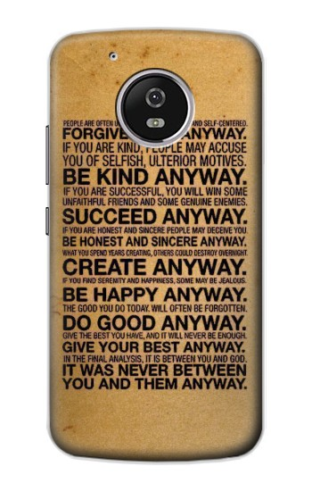 Printed Mother Teresa Anyway Quotes Motorola Moto G4 Play Case