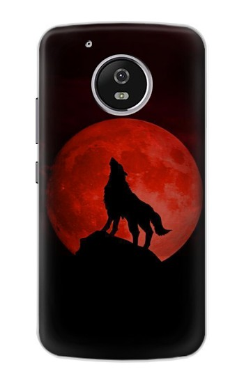 Printed Wolf Howling Red Moon Motorola Moto G4 Play Case