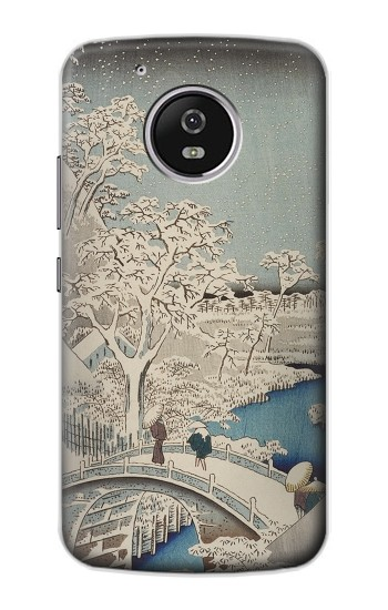 Printed Utagawa Hiroshige The Drum Bridge at Yuhi Hill in Meguro Motorola Moto G4 Play Case
