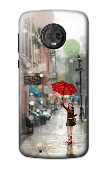 Printed Girl in The Rain Motorola Moto G6 Case