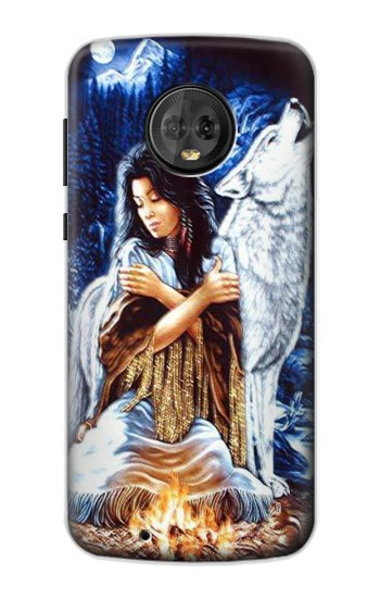 Printed Grim Wolf Indian Girl Motorola Moto G6 Case