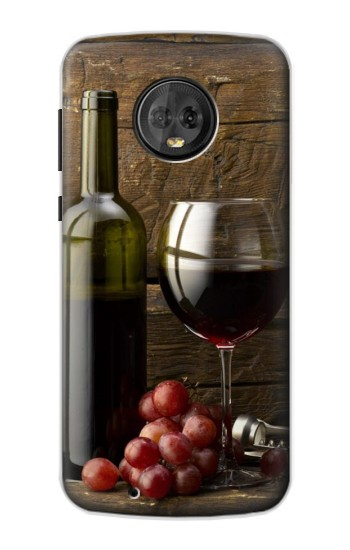 Printed Grapes Bottle and Glass of Red Wine Motorola Moto G6 Case