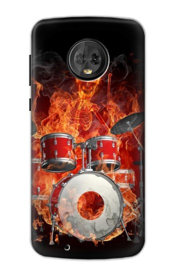 Printed Skull Drum Fire Rock Motorola Moto G6 Case