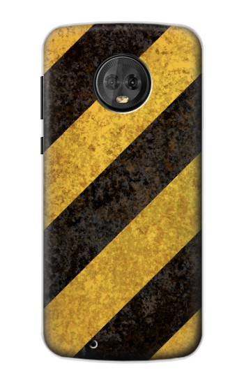 Printed Yellow and Black Line Hazard Striped Motorola Moto G6 Case